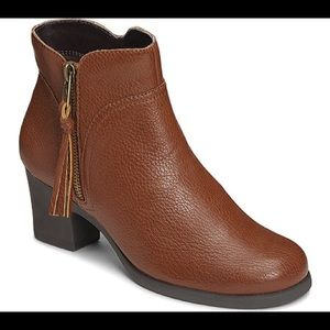 Aerosole Leather Booties with Zip